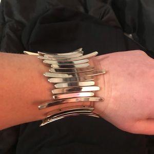 Silver color metal stretch cuff bracelet -